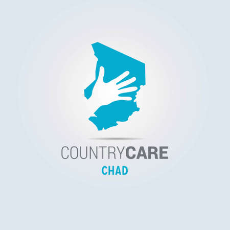 Illustration of an isolated hands offering sign with the map of Chad. For web design and application interface, also useful for infographics. Vector illustration. Çizim