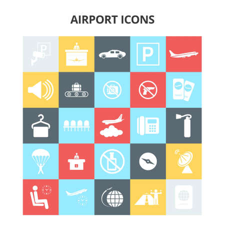 Airport Icons. For web design and application interface, also useful for infographics. Vector illustration.