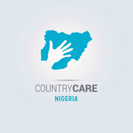 Illustration of an isolated hands offering sign with the map of Nigeria. For web design and application interface, also useful for infographics. Vector illustration.