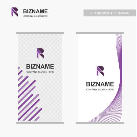 Company advertisment banner with R logo and slogan vector. For web design and application interface, also useful for infographics. Vector illustration. Illustration