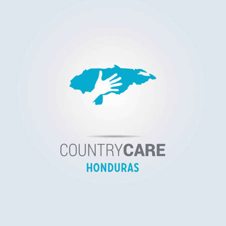 Illustration of an isolated hands offering sign with the map of Honduras. For web design and application interface, also useful for infographics. Vector illustration.