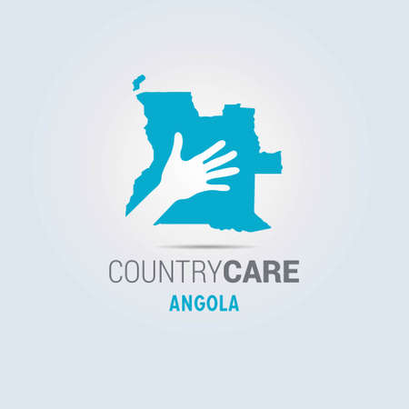 Illustration of an isolated hands offering sign with the map of Angola. For web design and application interface, also useful for infographics. Vector illustration. Çizim