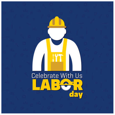 Happy Labor Day Beautiful Typography with Worker on a Blue Background. For web design and application interface, also useful for infographics. Vector illustration.