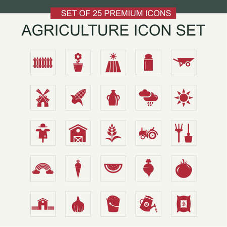 Agriculture icons set vector. For web design and application interface, also useful for infographics. Vector illustration.