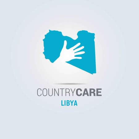 Illustration of an isolated hands offering sign with the map of Libya. For web design and application interface, also useful for infographics. Vector illustration. Çizim