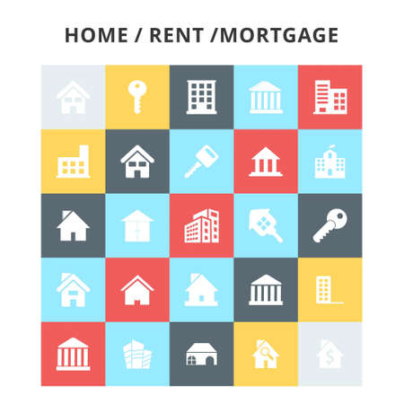 HomeRentMortagage Icons. For web design and application interface, also useful for infographics. Vector illustration. Stock Illustratie