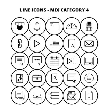 Line Mix Icons. For web design and application interface, also useful for infographics. Vector illustration.