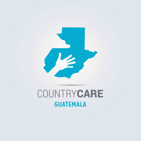 Illustration of an isolated hands offering sign with the map of Guatemala. For web design and application interface, also useful for infographics. Vector illustration.