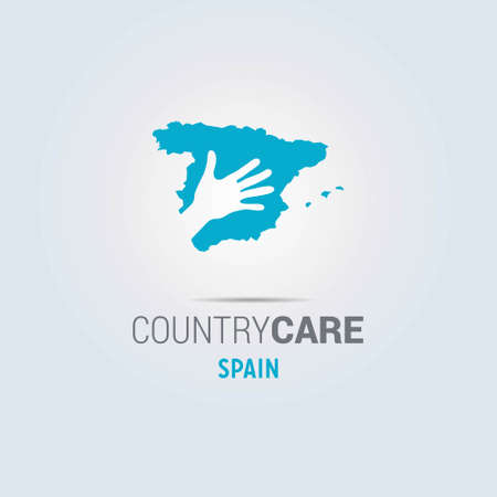 Illustration of an isolated hands offering sign with the map of Spain. For web design and application interface, also useful for infographics. Vector illustration.