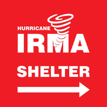Hurricane Irma Shelter Right Side Red Banner. Hurricane indication. Graphic banner of hurricane warning. Icon, sign, symbol, indication of the hurricane, vortex, tornado. For web design and application interface, also useful for infographics. Vector illustration. Ilustrace
