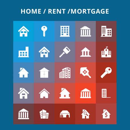 Home huur pictogrammen. Voor webdesign en applicatie-interface, ook handig voor infographics. Vector illustratie.