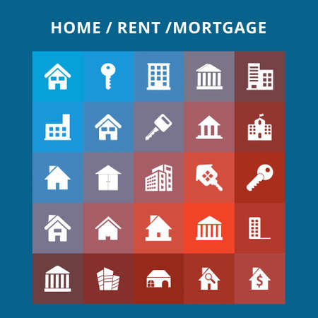 Home Rent Icons. For web design and application interface, also useful for infographics. Vector illustration.