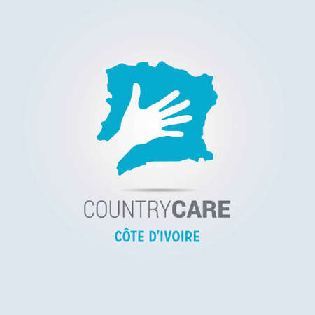Illustration of an isolated hands offering sign with the map of Cote Divoire. For web design and application interface, also useful for infographics. Vector illustration.