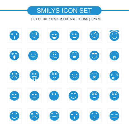 Smilys icons set vector. For web design and application interface, also useful for infographics. Vector illustration.