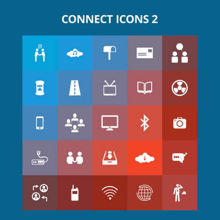 Connect Icons. For web design and application interface, also useful for infographics. Vector illustration.