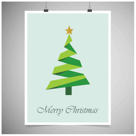 Christmas card frame with tree. For web design and application interface, also useful for infographics. Vector illustration. Vettoriali