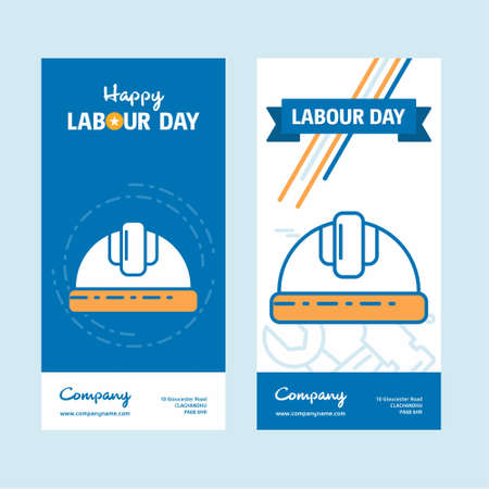 Happy Labour day design with vintage theme blue and orange with construction logo. For web design and application interface, also useful for infographics. Vector illustration.