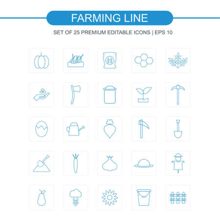 Farming line icons set bkue. For web design and application interface, also useful for infographics. Vector illustration.