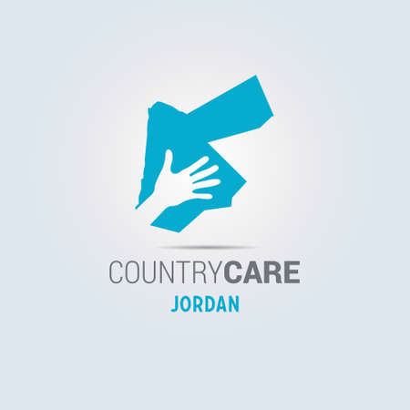 Illustration of an isolated hands offering sign with the map of Jordan. For web design and application interface, also useful for infographics. Vector illustration.