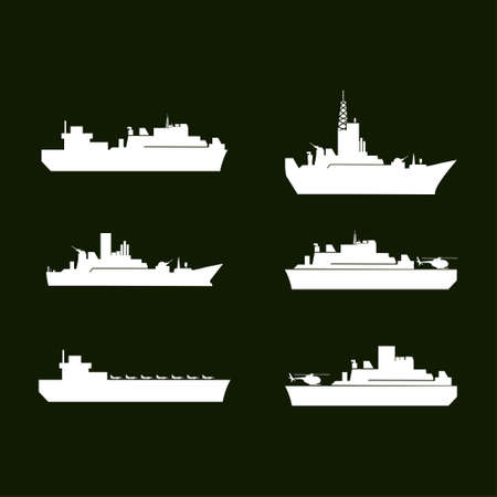 War Icons. White Army Ships. Set of 6 Army Ships. Green Background. For web design and application interface, also useful for infographics. Vector illustration.