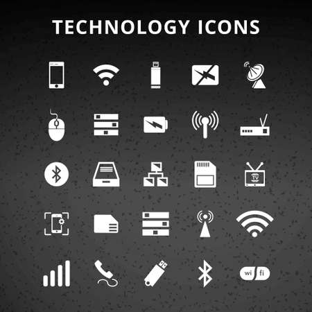 Technology and Hardware Icons. For web design and application interface, also useful for infographics. Vector illustration. Ilustração Vetorial