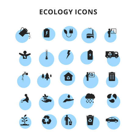 ecology icons set. For web design and application interface, also useful for infographics. Vector illustration.
