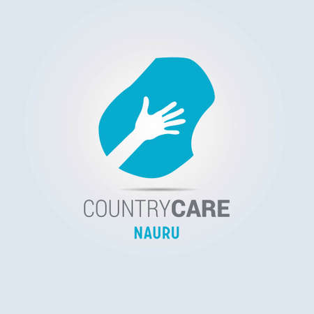 Illustration of an isolated hands offering sign with the map of Nauru. For web design and application interface, also useful for infographics. Vector illustration. Çizim
