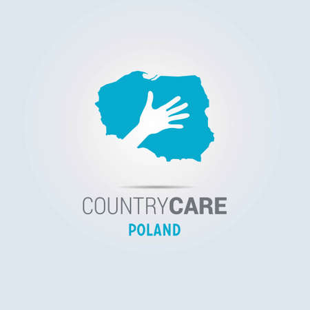 Illustration of an isolated hands offering sign with the map of Poland. For web design and application interface, also useful for infographics. Vector illustration.