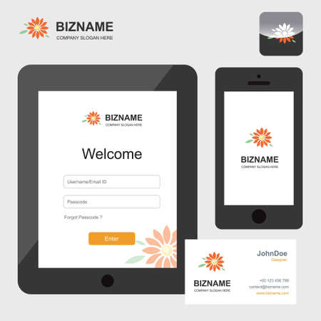 Company mobile and tablet sign in screen design also with flower logo. For web design and application interface, also useful for infographics. Vector illustration. Logo