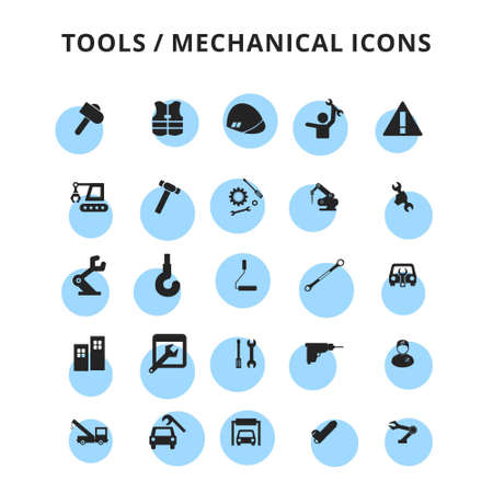 tools icons set. For web design and application interface, also useful for infographics. Vector illustration.