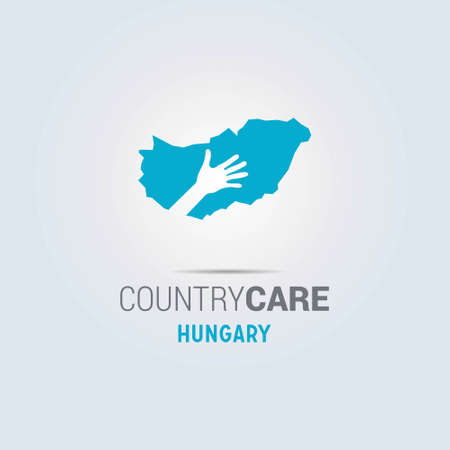 Illustration of an isolated hands offering sign with the map of Hungary. For web design and application interface, also useful for infographics. Vector illustration.