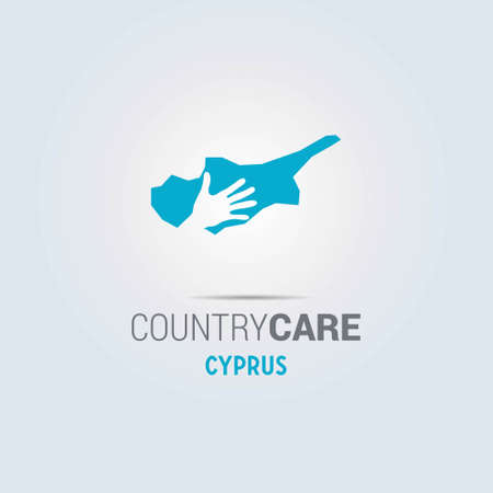 Illustration of an isolated hands offering sign with the map of Cyprus. For web design and application interface, also useful for infographics. Vector illustration.