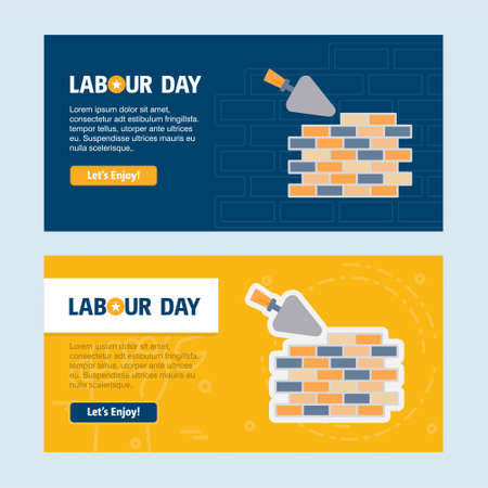 Happy Labour day design with yellow and blue theme vector with labours tool logo vector. For web design and application interface, also useful for infographics. Vector illustration. Vettoriali