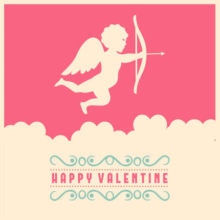 Happy Valentine's day card with pink and white background. For web design and application interface, also useful for infographics. Vector illustration.