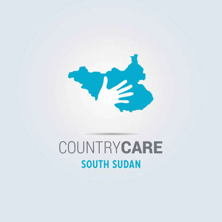 Illustration of an isolated hands offering sign with the map of South Sudan. For web design and application interface, also useful for infographics. Vector illustration.