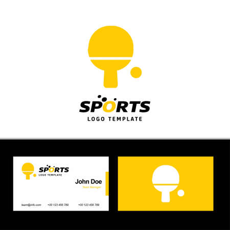 Business card of sports with yellow and white theme with sports logo vector. For web design and application interface, also useful for infographics. Vector illustration.