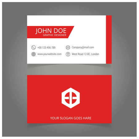 red and white business card. For web design and application interface, also useful for infographics. Vector illustration.