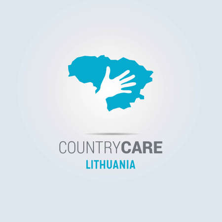 Illustration of an isolated hands offering sign with the map of Lithuania. For web design and application interface, also useful for infographics. Vector illustration.