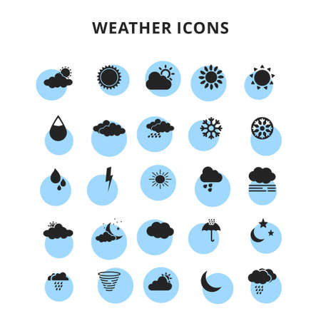 weather icons set. For web design and application interface, also useful for infographics. Vector illustration.