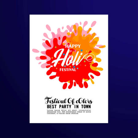 happy holi festival. white holi brochure having colorful watercolors, creative typography and sample text. For web design and application interface, also useful for infographics. Vector illustration.