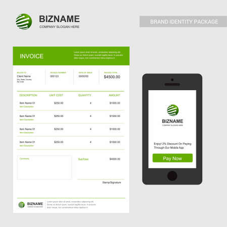Company Invoice with logo and creative design. For web design and application interface, also useful for infographics. Vector illustration.