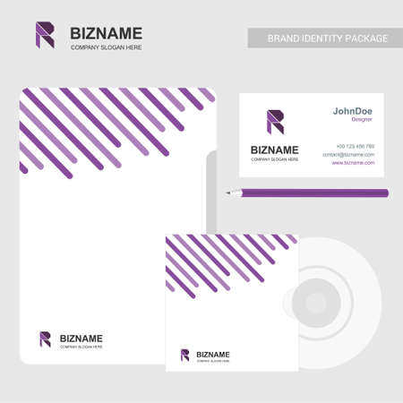 Brochure with company card and cd case with R logo and design. For web design and application interface, also useful for infographics. Vector illustration.