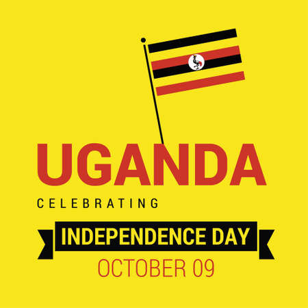Vector 9th October Uganda Independence Day. Black red and yellow Uganda flag lines with typography Celebration Card. Illustration. For web design and application interface, also useful for infographics. Vector illustration.