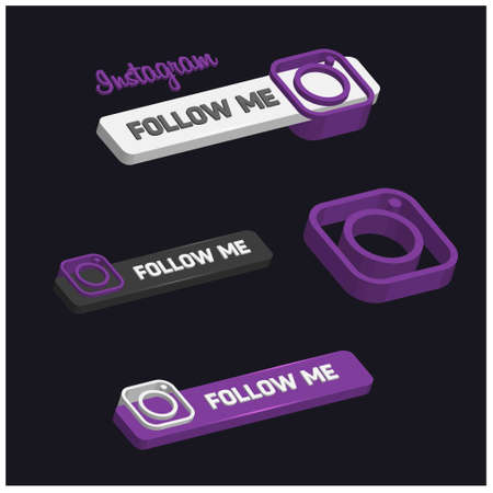 3d Instagram Follow Me Button. For web design and application interface, also useful for infographics. Vector illustration.