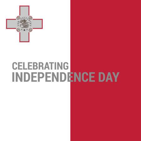 Malta Celebrating Independence Day background. For web design and application interface, also useful for infographics. Vector illustration. Vektoros illusztráció