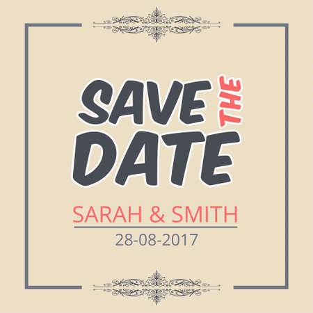 Save The Date Creative Lettering. For web design and application interface, also useful for infographics. Vector illustration.