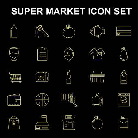 Super market icons set vector. For web design and application interface, also useful for infographics. Vector illustration.