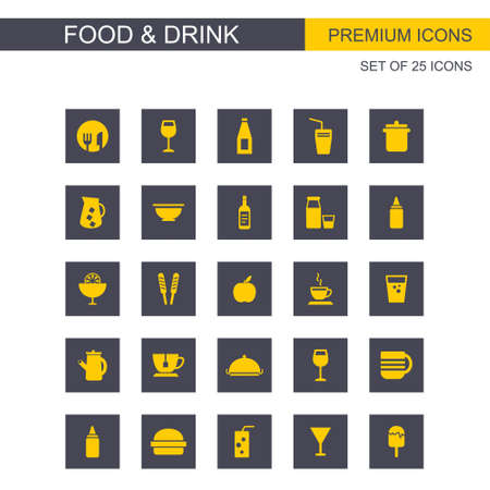 Food and Drink yellow icons. For web design and application interface, also useful for infographics. Vector illustration.