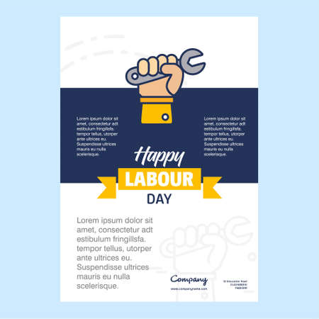 Happy Labour day design with yellow and blue theme vector with hardware tool logo vector. For web design and application interface, also useful for infographics. Vector illustration.