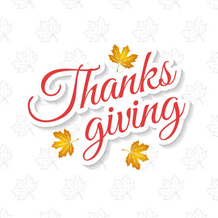 Happy Thanksgiving Day creative typography with spring leaves on white background. For web design and application interface, also useful for infographics. Vector illustration. Vettoriali